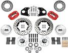 "1962-72 B / E-Body 10"" Drum Dynalite Pro Front Disc Brake Set with Red Calipers and Drilled Rotors"