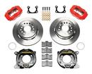 "1965-73 DynaPro Rear Brake Kit w/11"" Plain Rotors, Red Caliper for 2.36"" Offset Big Ford Bearing"