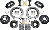 1958-2002 4R REAR BRAKE SET W/PARK BRAKE 10/12 BOLT W/C-CLIPS  - 13 DRILL/SLOT ROTORS & BLACK CALIP