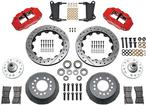 1964-74 SUPERLITE 6 BIG FRONT BRAKES DISC SPINDLES 14 DRILLED ROTORS/RED CALIPERS