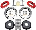 1998-02 4R Forged Billet Caliper Rear Set With Parking Brake - 13 Drilled Rotors & Red Calipers