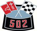 502 Crossed Flags Air Cleaner Emblem; Die-Cast Reproduction