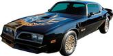1976 Trans AM Special Edition German Style Black / Gold Decal Set with Pre-Molded Stripes