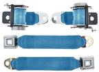 1979-93 Mustang Retractable Rear Seat Belts with Push Button Buckle - Regatta Blue