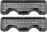 Chevy 348/409 Big Block Cast Aluminum Valve Covers With Chevrolet Script / Black Powder Coat Finish