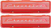 "1955-59 Chevy Small Block Orange Finish Staggered Bolt ""Chevrolet"" Script Aluminum Valve Covers"