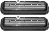 "1956-90 Chevy Big Block Cast Aluminum Standard Height Black Finish ""Chevrolet"" Script Valve Covers"