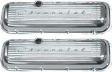 "1956-90 Chevy Big Block Cast Aluminum Std Height Polished Finish ""Chevrolet"" Script Valve Covers"