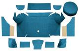 1967-68 Mustang Convertible Loop Trunk Carpet Set with Boards - Medium Blue