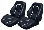 1967 Camaro Touring II Seats - Deluxe Interior - Black W/ White Stripe