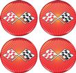 1955-81 GM 44MM  WHEEL CENTER CAP/SPINNER DECAL (ORANGE CROSS FLAG)