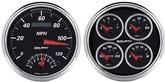Auto Meter Designer Black II 2 PIECE 5 Quad Gauge and Tach Speedometer combo