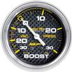 "Auto Meter Carbon Fiber Series 2-5/8"" 30 PSI / 30"" Hg Mechanical Full-Sweep Boost / Vacuum Gauge"