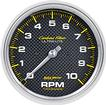"Auto Meter Carbon Fiber Series 5"" 10,000 RPM In-Dash Tachometer"