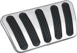 1967-72 GM Truck Lokar Long Billet Auto Brake Pedal Pad - Curved Style - Brushed w/Rubber Inserts