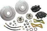 1955-64 Chevrolet Front Big Brake Conversion Set With 13 Drilled Rotors And 2 Piston Black Caliper
