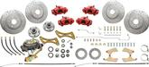 "1958-64 Full Size Front and Rear Big Brake Set with Red Calipers and 13"" Front / 12"" Rear Rotors"