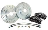"1967-74 C5 Upright Front Disc Brake Replace Set with 13"" Drilled / Slotted Rotors and Black Calipers"