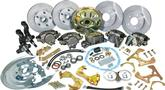 1967 Staggered Shocks Basic 4 Wheel Disc Brake Conversion Set Plain Rotors, Rubber Hoses