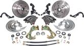 1967-74 Basic Front Disc Brake Conversion Set, Drilled Rotors/Stainless Hoses, with Steering Arms