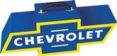 Blue and Yellow Portable Bow Tie Tool Box with White Chevrolet Logo