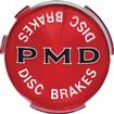 "67-72 PMD Wheel Cover Emblem (2-7/16"") Red Background / Black PMD With Disc Brakes"