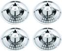 "White Checkered 15"" Chrome Spider Hubcap Set with Locks"