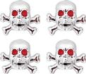 Chrome Skull with Red Eyes Valve Stem Cap Set