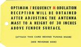 1963-65 AM/FM RADIO RECEPTION INSTRUCTION TAG