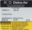 1979 Delco AC Compressor Decal Model # 1131127