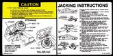 1981 CAMARO JACKING INSTRUCTIONS DECAL