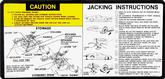 1980 CAMARO JACKING INSTRUCTIONS DECAL