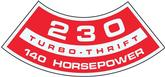 230 / 140-HP TURBO THRIFT AIR CLEANER DECAL