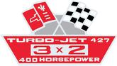 427 Turbojet 400-HP 3X2 Air Cleaner Decal (OE#3904811)