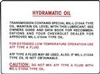 54-69 TRANS OIL DECAL CHEVY HYDRAMATIC
