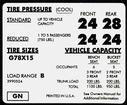 1972 Impala / Full Size G78 X 15 Tire Pressure Decal