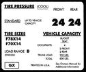 1971-72 CAMARO F78X14 / F70X14 TIRE PRESSURE DECAL