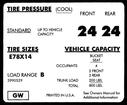 1971-72 CAMARO E78X14 TIRE PRESSURE DECAL