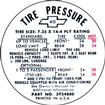 "1967-68 Camaro, 1968 Chevy II / Nova 735 X 14"" Tire Pressure Decal"