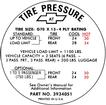 "1968 Impala SS 427 with Manual Trans and G70X15"" Tire Pressure Decal"