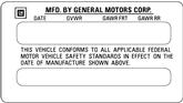 1976-92 GM Vehicle Certification Decal