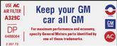 "1974 350 ""Keep Your GM All GM"" Decal (Code ""DP"")"