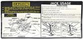 1974 CAMARO W/ SPACE SAVER JACKING INSTRUCTIONS DECAL