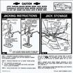 1961 Full Size Chevrolet Sedan / Hardtop / Convertible Jack Stowage And Jacking Instructions Decal