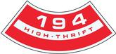 194 High Thrift Air Cleaner Decal