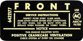 1963-67 V8-2BBL AIR CLEANER SERVICE DECAL