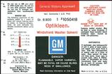 1960-67 GM Optikleen Washer Bottle Decal (OE#1050418)