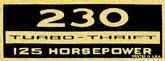 230 Turbo-Thrift 125-Horsepower Black and Gold Valve Cover Decal