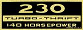 230 Turbo-Thrift 140-Horsepower Black and Gold Valve Cover Decal