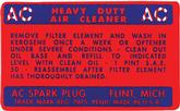 1948-57 OIL BATH AIR CLEANER INSTRUCTION DECAL